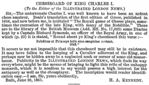 chessboard of King Charles I 1 July 1865
