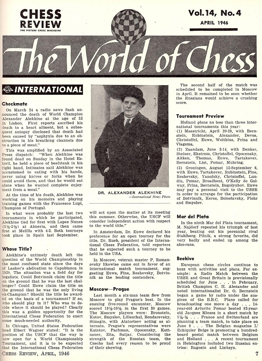 Kingpin Chess Magazine » Alekhine Checkmated